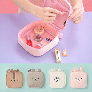Flannel Soft Girl Cosmetic Cases Bentoy Make up Bag Women Handbag Hot Fashion Toiletry Bags Travel Korea Solid Female Makeup Box