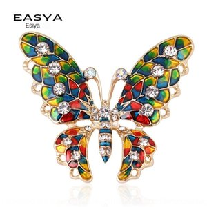 Yi Siya nuovi gioielli farfalla spilla spilla di diamanti Vestiti della farfalla olio abbigliamento diamante dripping colorato lega KVCpd
