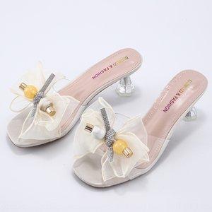 Для женщин дерева синтаксиса прояснит 2020 новый ето с высокой High-эд мотыгой Сандалом и высоким для женщин толстого каблука кристалл пятки тапочки феи обувь сандалии Nto