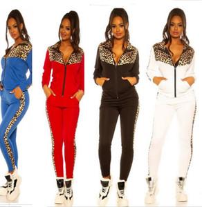 Женщины Tracksuit Дизайнер леопардовый с длинным рукавом свитера Молнии куртки Пальто Брюки поножи Лоскутные Цвет Повседневный костюм Спортивная E82604