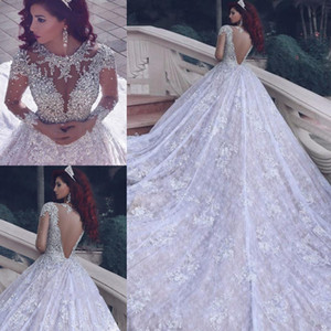 Luxury Wedding Dresses Princess Bridal Ball Gowns Lace Appliques Rhinestone High Neck Wedding Gowns Petites Plus Size Custom Made