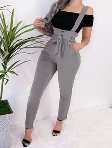 Fall fashion sexy slim casual pants with straps