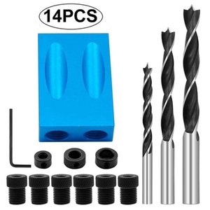 14Pcs Set Pocket Hole Jig Kit 15 Angle 6 8 10mm Drive Adapter for Woodworking Angle Drilling Holes Guide Dowel Jig Wood Tools