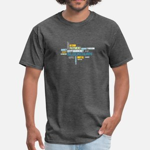 Blockchain hombres de la camiseta Personalizar 100% Euro algodón tamaño S-3XL encajan camisa anti-arrugas de verano Basic del estilo de las letras