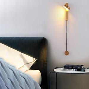 Chambre Sconces Salon Fer Art Moderne Hôtel Applique murale à LED Home Decor Escaliers Rotation Dimming Bouton commutateur style nordique