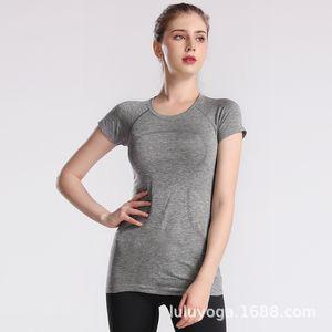 Лулу новый 2,0 женщин с короткими рукавами футболки бесшовные модные одежды Технология топ спортивный быстросохнущие фитнес-йога