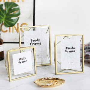 Nordic Metal Photo Frame Golden black Picture Frame Wrought Iron Geometric Bracket Personality Creative Decoration Ornaments C0927