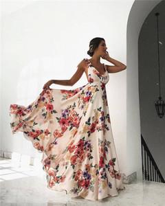 إمرأة بوهو ماكسي لونغ اللباس الصيف مثير الزهور السباغيتي الشريط أكمام عارية الذراعين فساتين السهرة المرأة فساتين أنيقة عالية الخصر