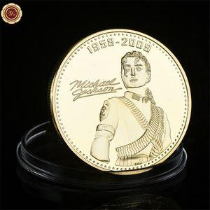 Banhado a ouro moedas comemorativas, Michael Jackson moedas comemorativas, prata banhado colecionáveis moedas comemorativas