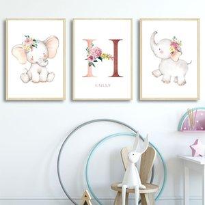 꽃 코끼리 보육 예술 인쇄 개인화 된 사용자 정의 이름 포스터 벽 예술 회화 북유럽 캔버스 그림 아기 소녀 룸 장식