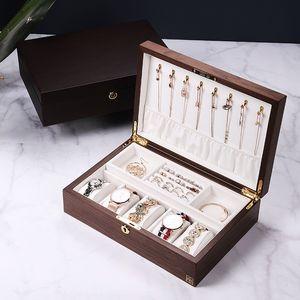 regarder le stockage intégré de bijoux boîte de bracelet Bracelet smallearrings en bois massif avec boîte à bijoux de verrouillage
