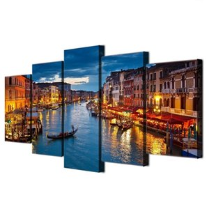 Modern Wall Art Poster HD Prints Pictures Frame Home Decor 5 Piece Venice Water City Boat Light Landscape Canvas Painting(No Frame)
