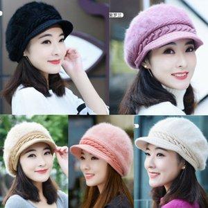2020 Female Warm Berets Winter Women Beret Braided Baggy Knit Crochet Beanie Hat Ski Cap Slouch Hats solid Berets