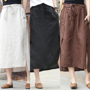 2020 neuer künstlerischer und Rock Frauen-Mittellange elastische hohe Mian ma qun Baumwolle Leinen Mian ma qun Taille Baumwolle und Leinen lässiger Rock