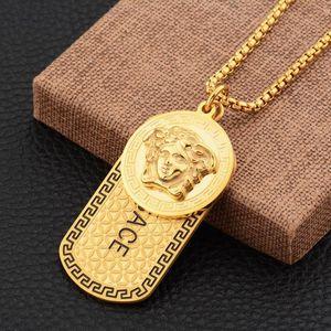 Hombres de acero inoxidable 18k oro de lujo punk medusa etiqueta de Hip Hop del collar de la cabeza del retrato joyería Neckalce moda Fiesta Accesorios regalo