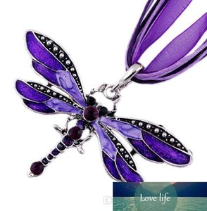 2017 hot sell 6Colors Vintage Enamel Dragonfly Crystal Pendant Necklaces Organza String Necklace Necklaces fashion Jewelry