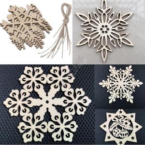 Bolsa de Chirstmas de madera colgante del copo de nieve del ornamento del copo de nieve creativo perforado de Navidad de la decoración Festival regalos Proveedor 10pcs / D83106 conjunto