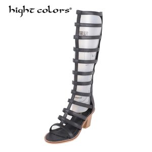 Women Summer Shoes Black White denim high heels metallic tiger fretwork Knee High boots strap motorcycle sandals MS-681