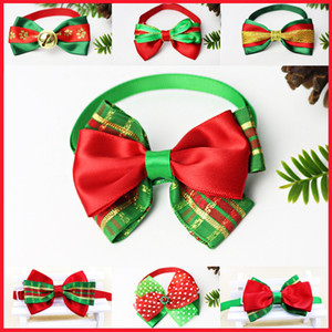Christmas Pet Collars Dog Collars Christmas Decorations Cats Bowknot Collars Bow Tie Ornaments Xmas Pet Supplies 30 Style HH9-3260