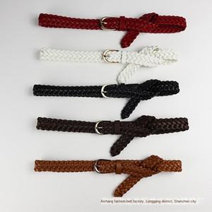 rKKiZ PU sottile coreano Dall-partita di PU Donne corda piccolo stile semplice di cuoio intrecciato cintura sottile Dall-partita di stile coreano beltsimple TboTN delle donne