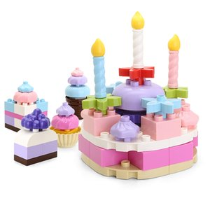 77pcs Girls play house macaron colorful Birthday Cake larger particles building blocks educational toys for kids creative gift11