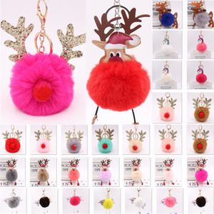 8cm Christmas Fur Ball Plush Keychains For Elk Reindeer Unicorn Keychain Pendant Car HandBag Phone Key Ring Xmas Gifts WX9-999