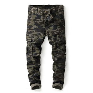 Army Green Men's Jeans Pocket Long Pants Autumn Fashion Streetwear Camouflage Print Tags Mens Denim Pants Asian Plus Size Hot Sale