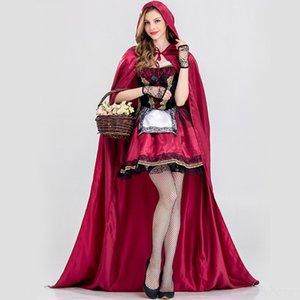 tAsh9 Nuovo partito Little Red Acting costume Little Red Hood Hat abbigliamento ruolo adulto cosplay equitazione Halloween costume da principessa