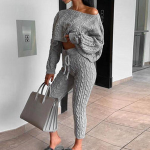 LOOZYKIT mujeres traje casual de dos piezas de punto Conjunto suéter manga larga jersey corto Crop Top largo de punto con cordón pantalones Hembra