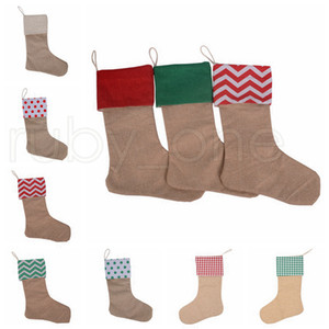 30*45CM Christmas Stocking Gifts Canvas Xmas Stocking Bags Large Size Plain Burlap Decorative Socks Christmas Decorations 9styles RRA3405