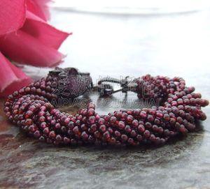 B071010 Natural 13 Strands 3mm Garnet Bracelet CZ Clasp