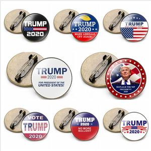 Trump Badge 2020 Presidente Latina Elección Suministros Mantenga estadounidense broche de la bandera de Estados Unidos Gran Trump Partido Ronda Pin del favor del regalo LJJP404