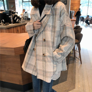 Women Autumn Winter Plaid Trench Coat Long Clothes Overcoat with Cotton Inside Plus Size Manteau Femme Casaco Feminino T200819