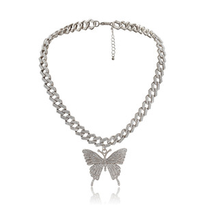 2pcs Lot European Geometric Big Butterfly Necklace Fashion Full Diamond Pendant Chain For Women Alloy Gold Neck Jewelry Accessories