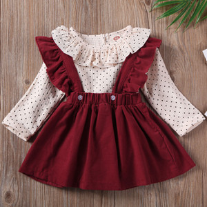 2020 Girl's New Top + Bib Two-Piece Set Red, Green Fashionable Cute Casual Style Little Girl Wearing 0927