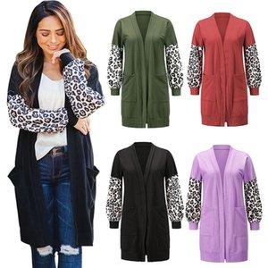 Femmes Cardigan manches longues en tricot Manteaux dames Leopard Patchwork Outwear automne Pull Femme Cardigans desserrées 050828