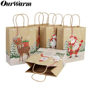 OurWarm 6Pcs regalo di Natale Babbo Borse Sacchi Kraft Paper Bag con manico Kids Party Favors Box Decorazioni di Natale per casa