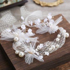 perle mano capelli accessori abito da sposa copricapo band capelli Wedding Band garza bianca KInOg sposa