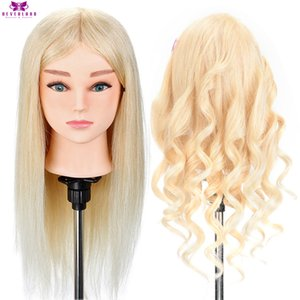 NEVERLAND Hairdressing Mannequin Head 100% Real Human Hair for Hairstyles Hairdressers Curling Practice Training Head with Stand