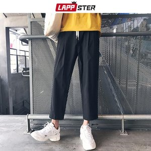 LAPPSTER Men Korean Style Harem Pants 2019 Summer Casual Solid Joggers Pants Black Sweatpants Fashions Ankel-length Trousers 2XL
