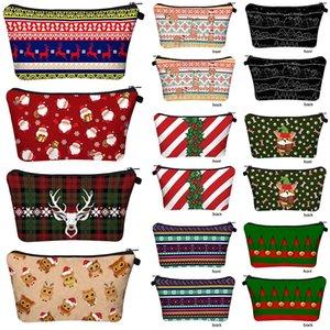 Cosmetic Bags Lady Makeup Bag Christmas Print Pouch Sundries Storage Bags Fashion Handbag Portable Zipper Organizer Bag OOA8481