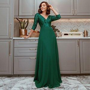 2020 новая мода Maxi платья сексуальная глубокая V-образным вырезом блестеет красный зеленый белый белый 3/4 рукав платья платья банкета вечернее платье