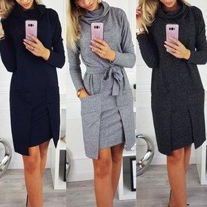 Autumn Winter Women Fashion Elegant Neck Long Sleeve Big Pocket Tops Ladies Female Large Big Solid Color Blouse Dress 200925