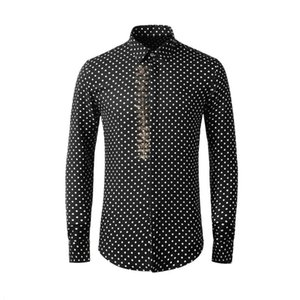 New High Quality Spring Summer Wave Point Hot Stamping Printing Long Sleeve Men Fashion Polka Dot 100% Cotton Plus Size M-4XL