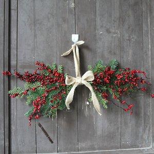 Chirstmas Berry Garland American Linen Door Hanging Decorations Artificial Fruit Xmas Window Handmade Ornaments Pendant