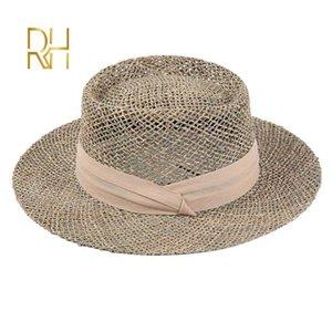 Женщины соленой трава солнцезащитного козырек шапка мода Hollow с лентой дама лето Панамы Бич Hat Оптовая RH
