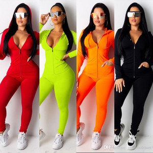 Designer Womens sportivo Rosa Tuta manica lunga Giacca Pantaloni Tow pezzi Set con cappuccio Leggings insieme delle 2 parti Outfits aderente Sport Set 2020