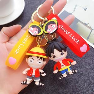 Christmas creative keychain pvc soft plastic three-dimensional One Piece Luffy doll car key pendant small gift