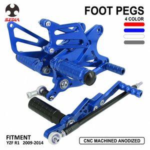 Acessórios da motocicleta CNC alumínio ajustável Pé Pegs traseiros Set Footpegs apoios dos pés para YZF R1 YZFR1 YZFR1 2009-2014 J61d #