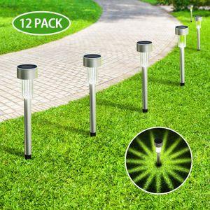 Solar Lights Outdoor, Stainless Steel Waterproof Outdoor Lights - 12Pack, LED Landscape Lighting Outdoor Solar Lights for Pathway Walkway